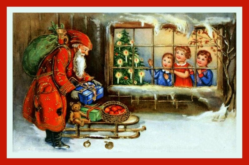 Antique Christmas postcard with Santa and children