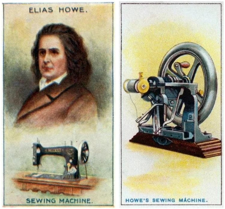 Antique trading cards - Who invented the sewing machine?