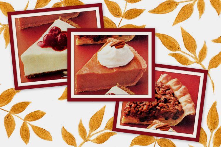 Apple streusel mince pie, no-bake pumpkin Frozen lemon cream pies retro recipes from the '80s