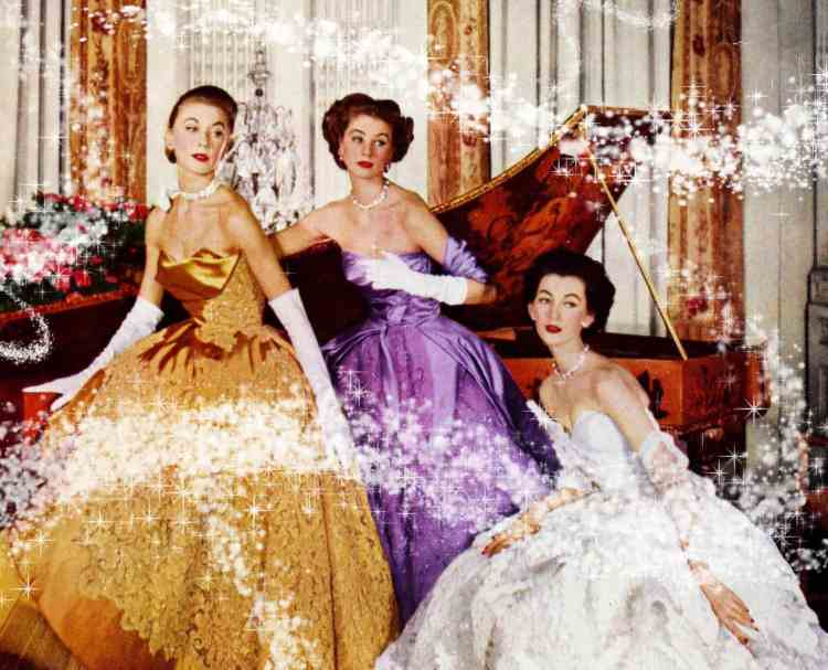 Breathtakingly gorgeous vintage evening gowns with skirts so full they'd make a Disney Princess jealous