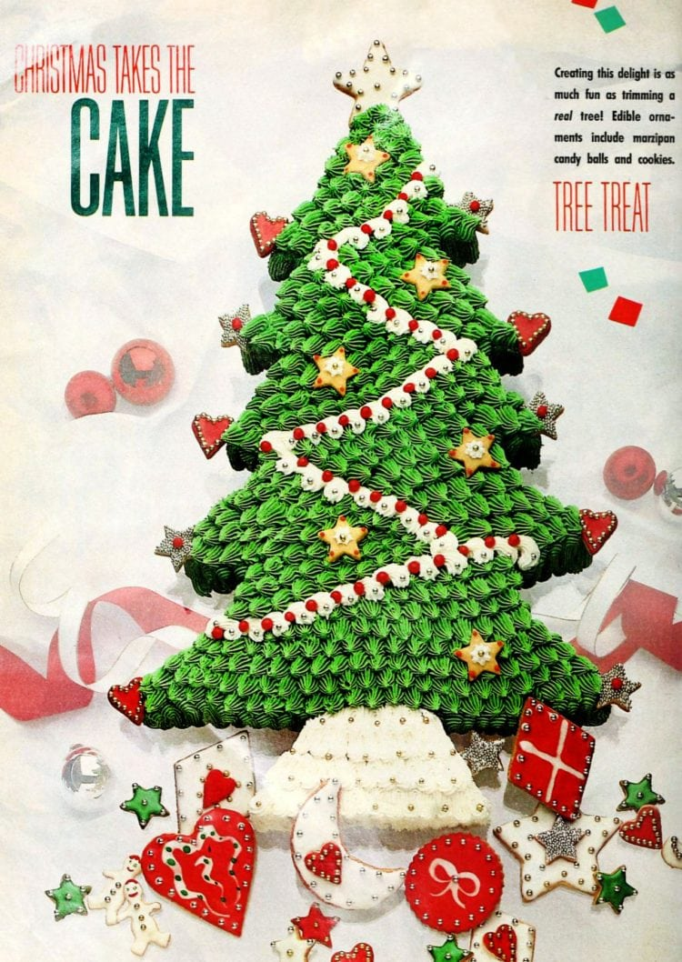 Cool and creative retro decorated Christmas cakes from the 1980s - Christmas tree