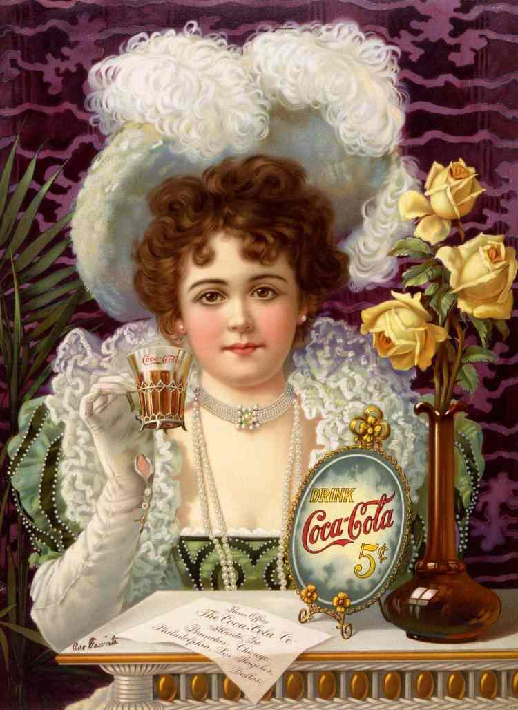 Coca cola drink with cocaine - 1900 woman with glass