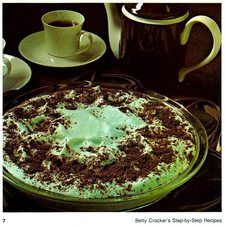 Cool mint cookie pie and butter mint chiffon pie Pastel mint dessert recipes from the 70s