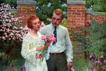 Couple walking in the garden with flowers 1920s