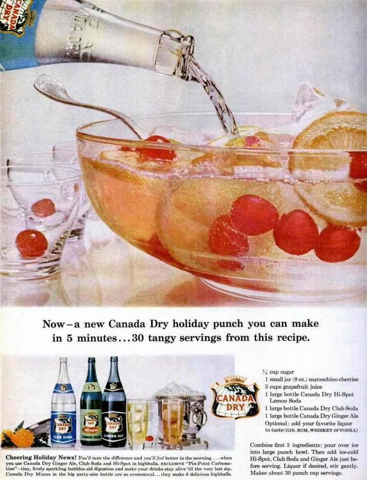 Dec 1959 Christmas punch bowl food drinks