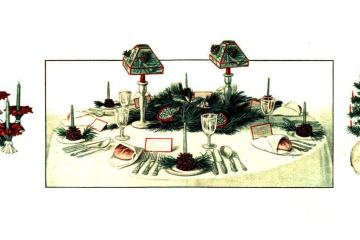 Decorations and treats for an old-fashioned Christmas table (1910s)