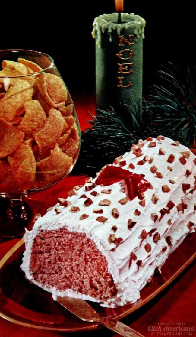 Deviled ham frosty Yule log Christmas appetizers