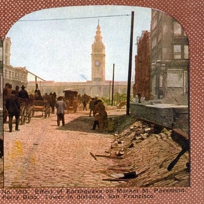 Effect of Earthquake on Market Street Pavement. Ferry Bldg. Tower in distance, San Francisco