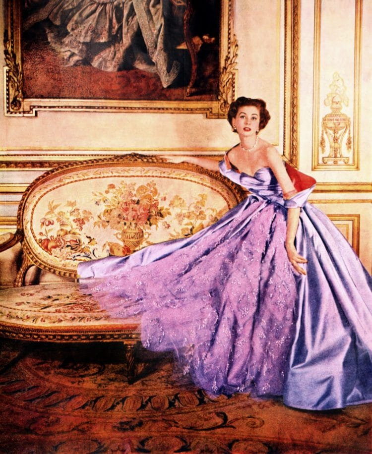 Elegantly classic purple formal dress - evening gown from 1953
