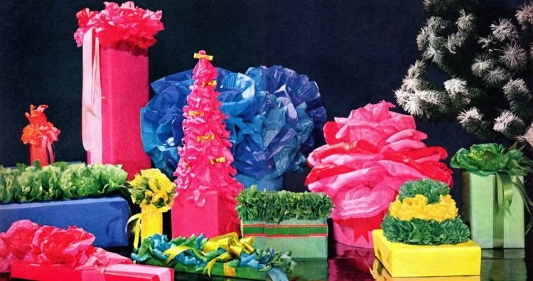 Festive and fancy ways to wrap gifts with tissue paper - ideas from the 1960s (2)