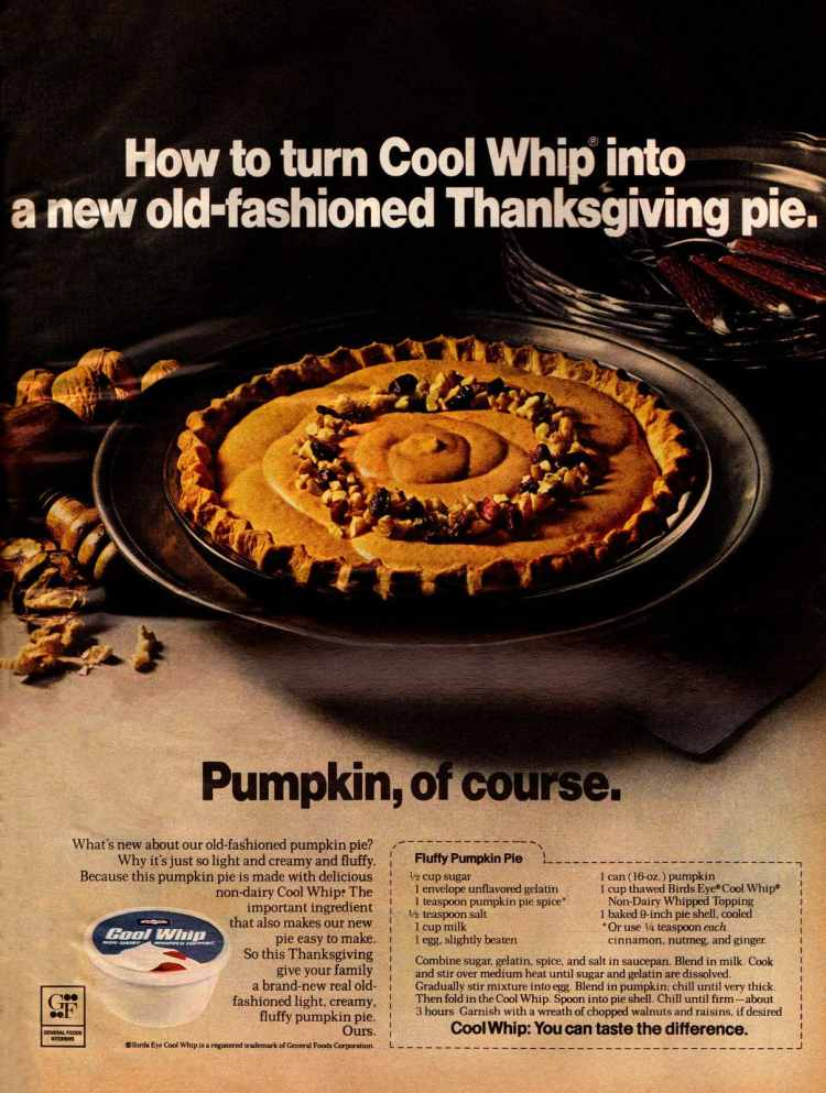 Fluffy pumpkin pies - recipe from 1971