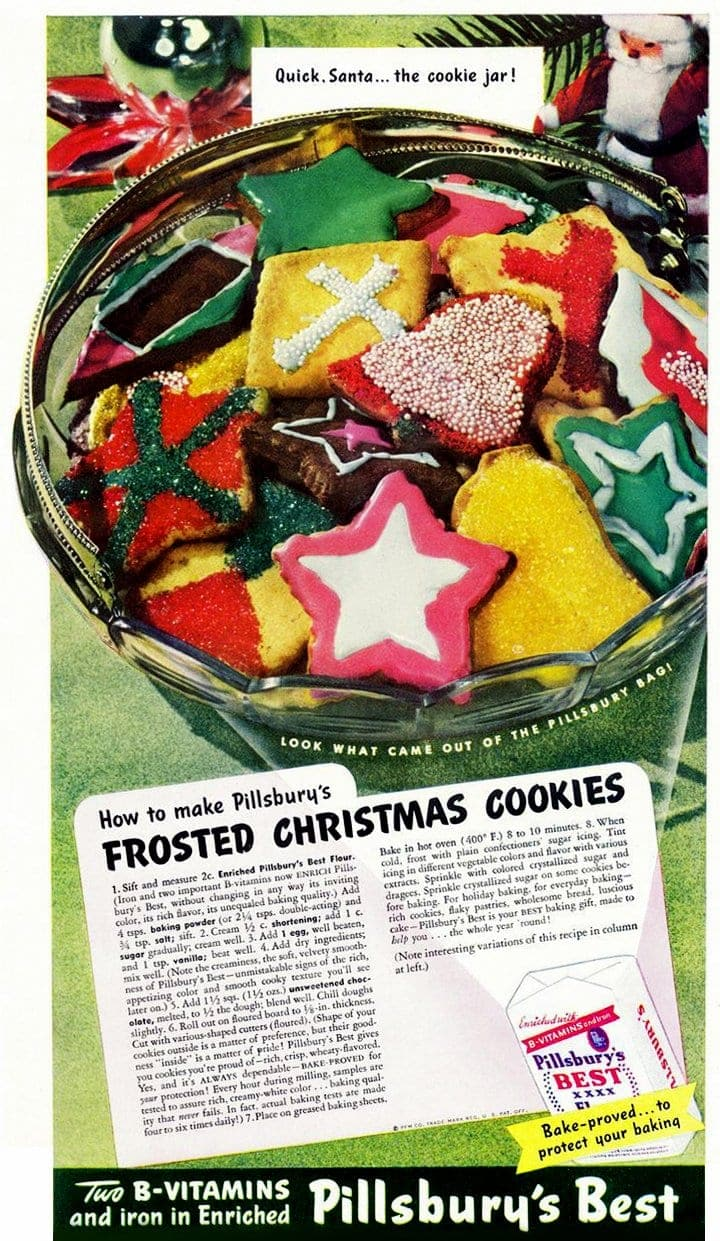 Frosted christmas cookies pillsbury 1950s