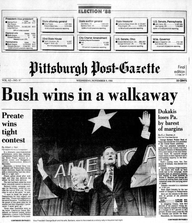 George H W Bush elected President - Newspaper headlines from Pittsburgh Post Gazette - November 9 1988