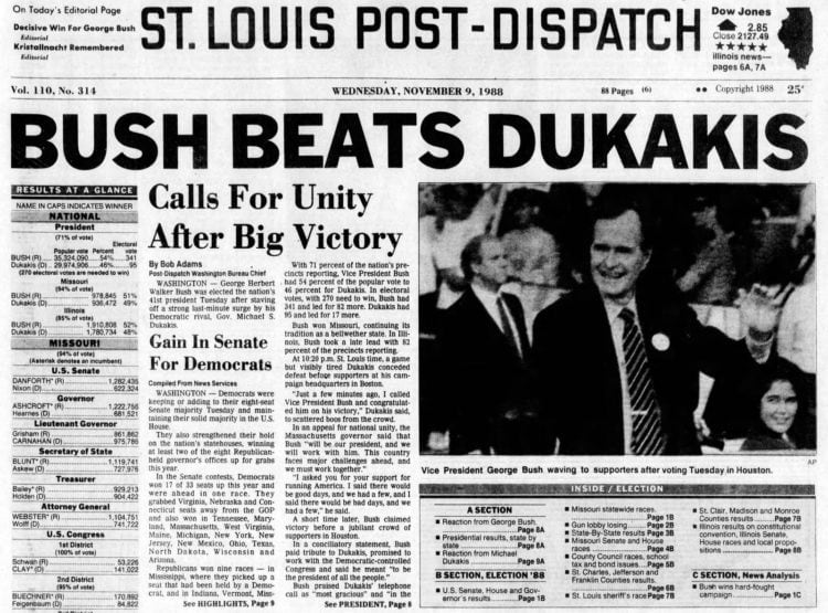 George H W Bush elected President - Newspaper headlines from St Louis Post Dispatch - November 9 1988