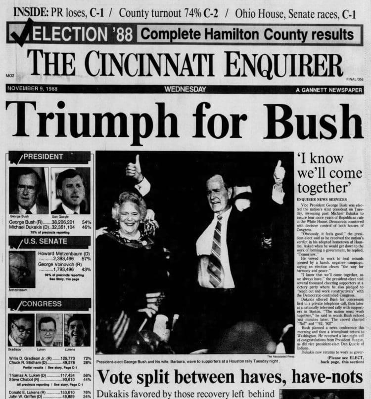 George H W Bush elected President - Newspaper headlines from The Cincinnati Enquirer - November 9 1988
