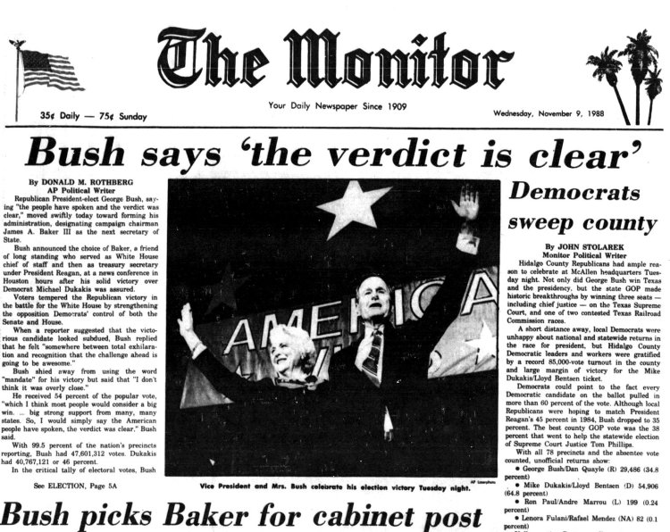 George H W Bush elected President - Newspaper headlines from The Monitor - November 9 1988