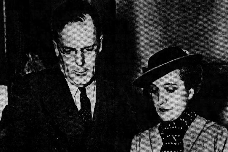 George Palmer Putnam, husband of Amelia Earhart, and Mrs Frederick J Noonan