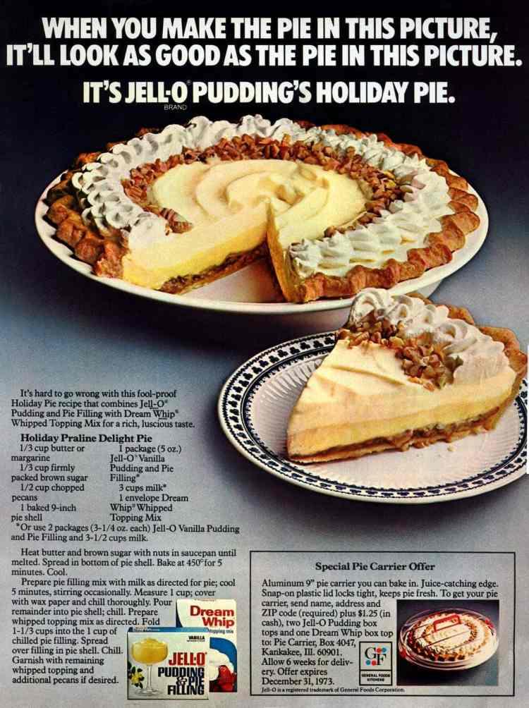 Holiday praline delight pie (1970s)