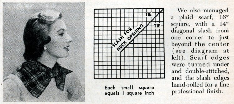 How to make a plaid scarf - sewing from 1950