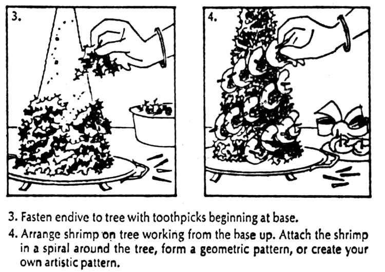 How to make a shrimp Christmas tree - step-by-step from 1974 (1)