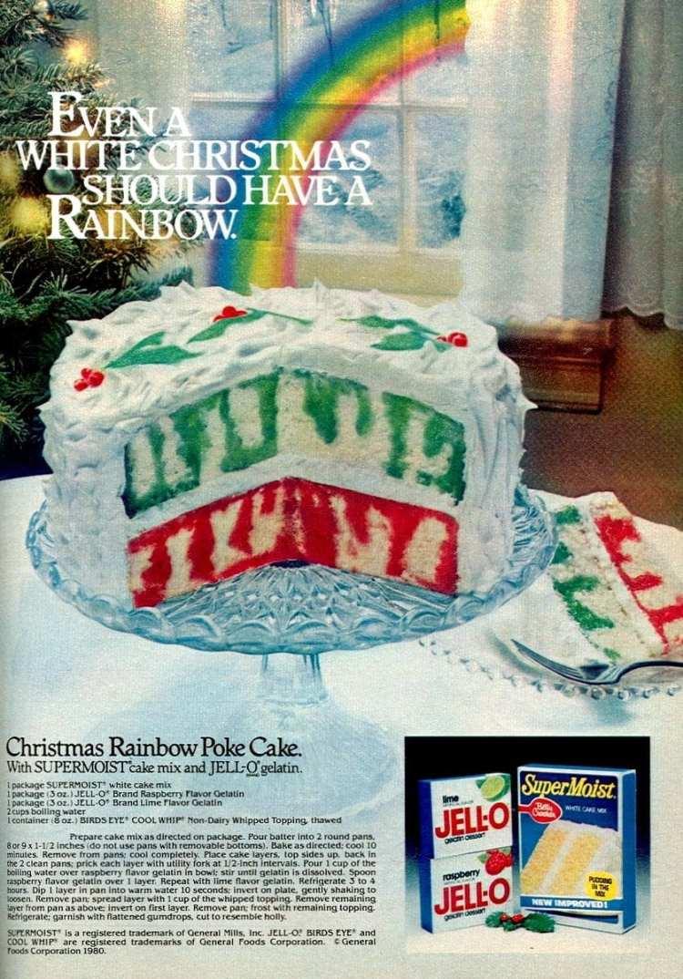 How to make a vintage Christmas Rainbow Poke cake (1980s)