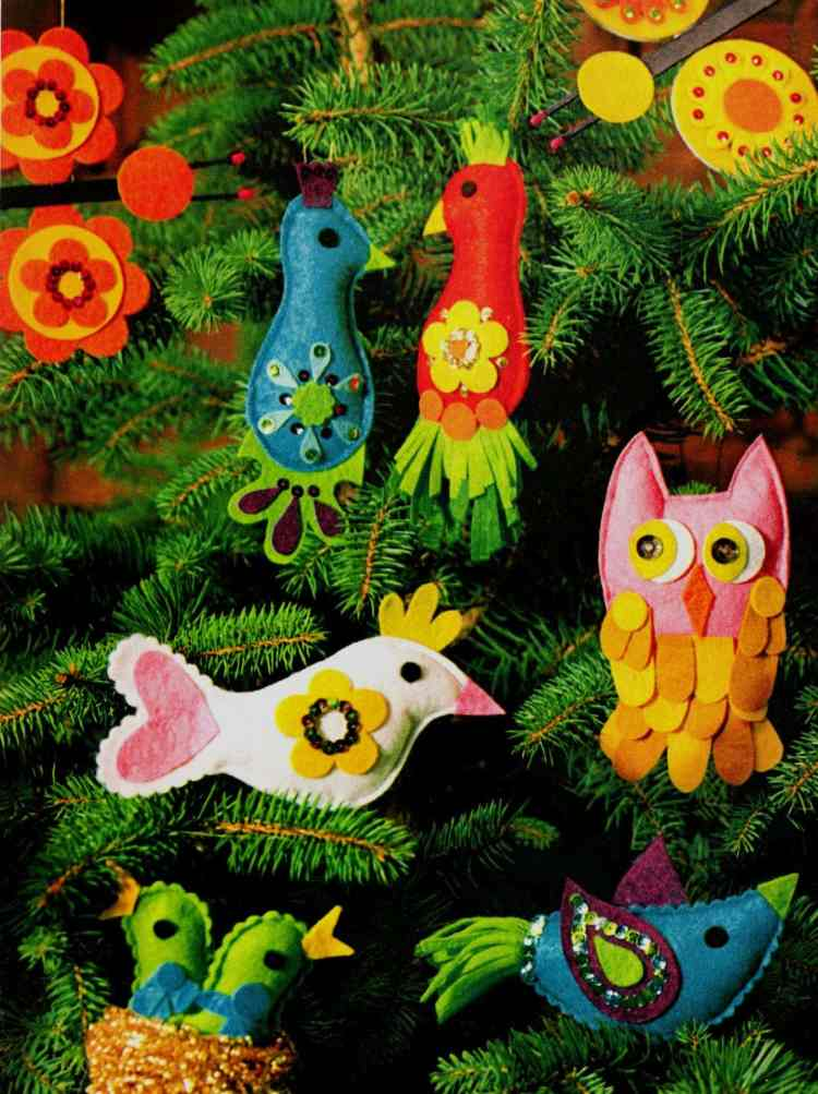 How to make adorable retro ornaments shaped like birds and butterflies (1)