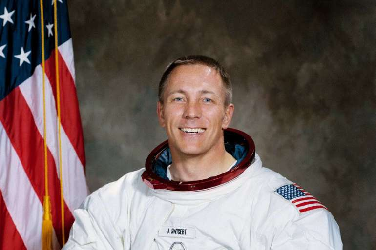 Jack Swigert in space suit NASA
