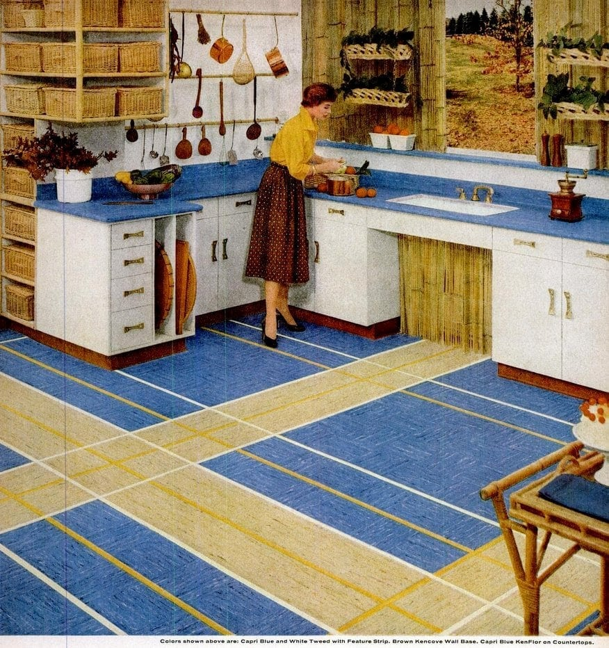 Vintage Home Style Vinyl Floor Tiles In Square Patterns