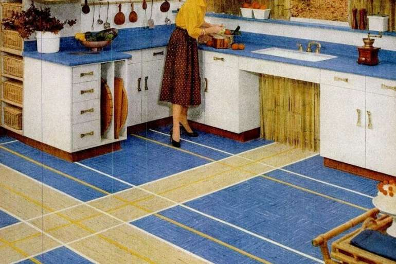 Jul 23, 1956 retro kitchen with yellow and blue vinyl floor tile kenroyal