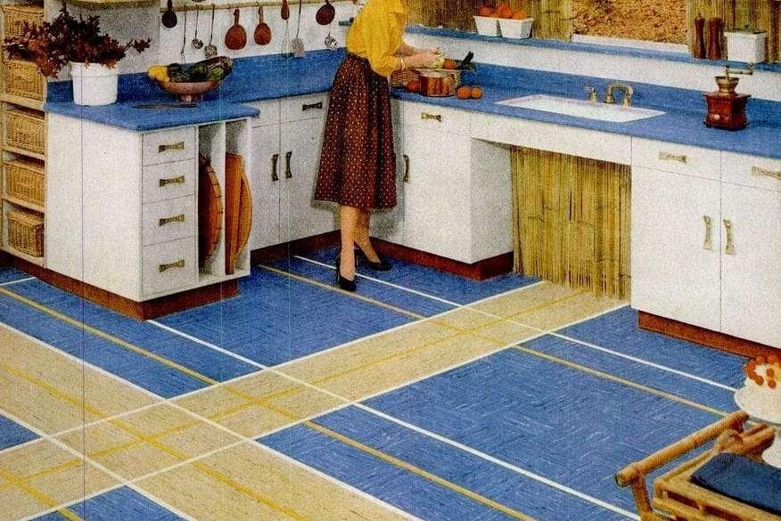 Vintage Home Style Vinyl Floor Tiles In Square Patterns