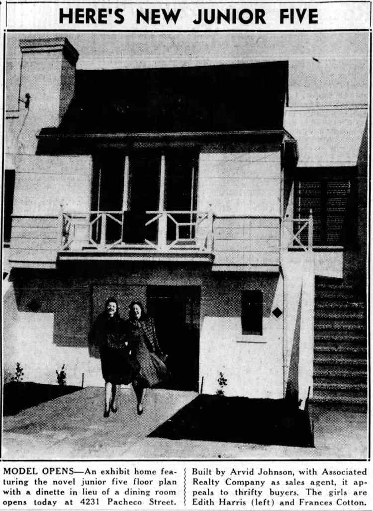 Junior Five Homemaker's Home at 4231 Pacheco Street in San Francisco - 1940