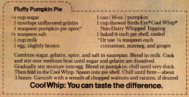 Light and creamy fluffy pumpkin pies on a recipe card from 1971