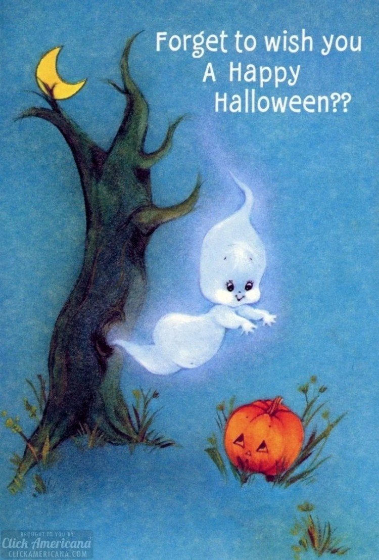 Little ghost and pumpkin on a vintage Halloween card