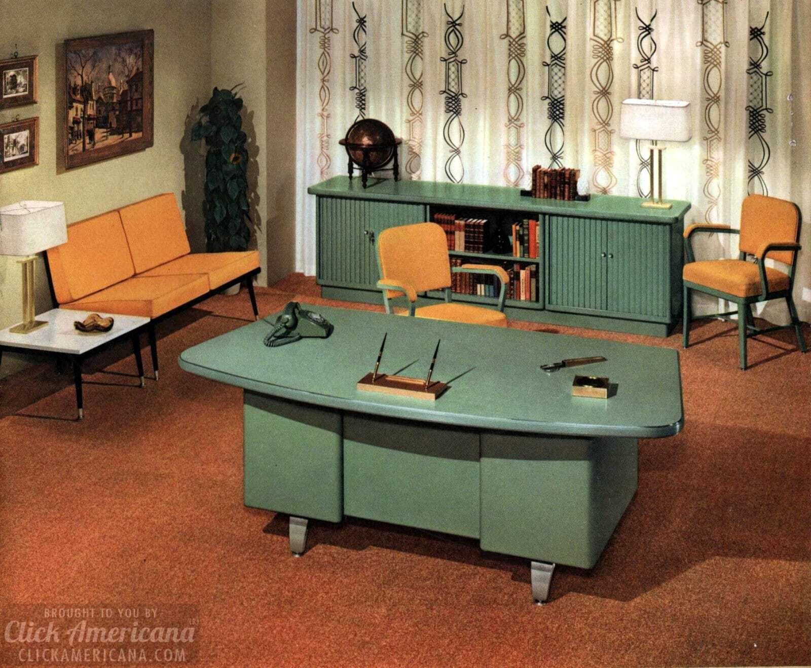 The way offices used to look vintage office furniture and sleek mid century modern desks from 1959
