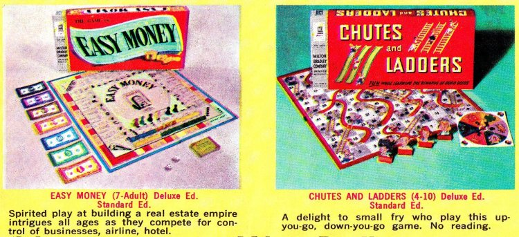 Milton Bradley board games from the early 1960s Easy Money Chutes & Ladders