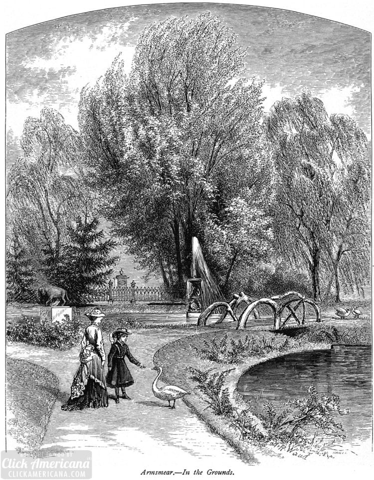 On the grounds of Armsmear - the Samuel Colt house - 1876