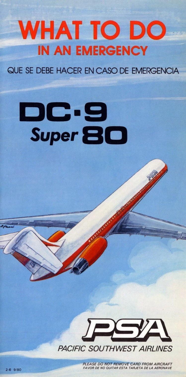 Pacific Southwest Airlines emergency card - DC-9 Super 80 - cover