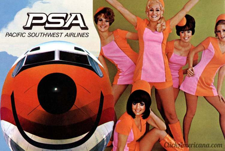 Vintage PSA ticket jackets, emergency cards and ads for Pacific Southwest Airlines