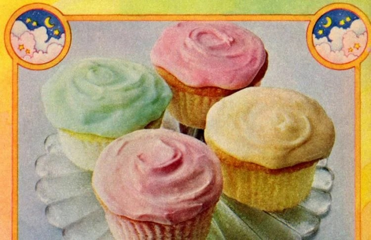 Pastel Clouds cupcakes recipe Flavored and colored with Jello (1978)