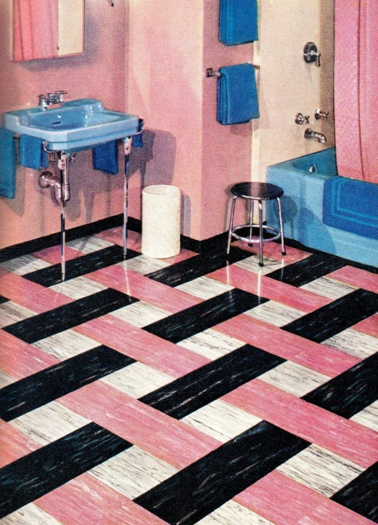 Pink white black retro flooring from the 1950s