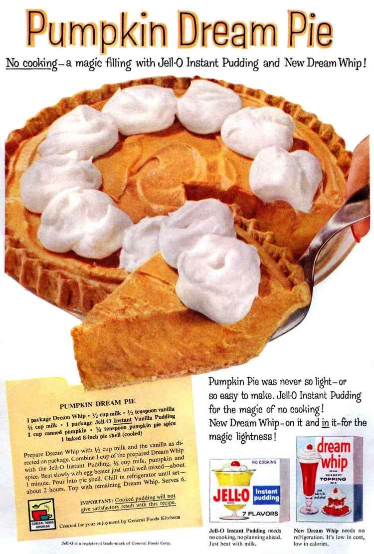 Pumpkin Dream Pie The '50s classic no-bake dessert recipe (1959)