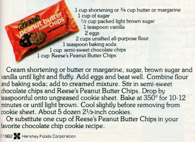 Reese's peanut butter chip cookie vintage recipe card