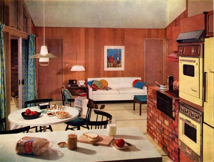 Scholz Mark 58 mid-century modern model home kitchen-family room (1)