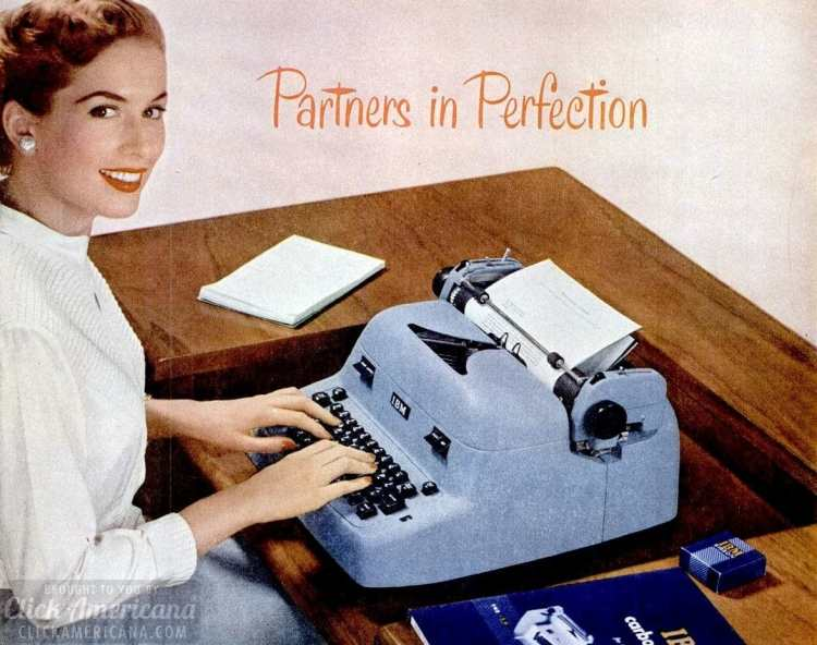 Secretary in an office with a typewriter in 1952