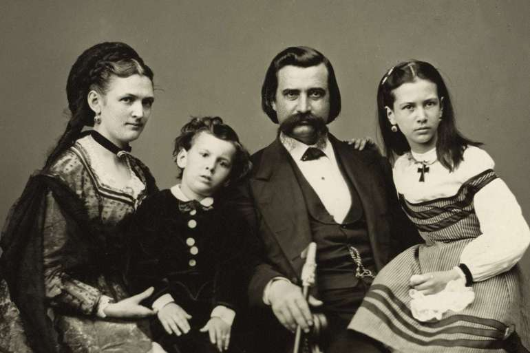 John Logan with wife Mary Simmerson Cunningham Logan, son Manning Alexander Logan, and daughter Mary Elizabeth Dollie Logan (c1870)
