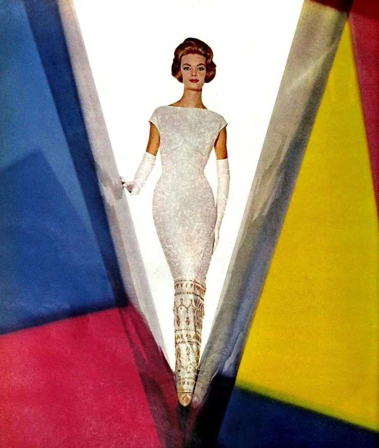 Shimmery white evening dress from 1962