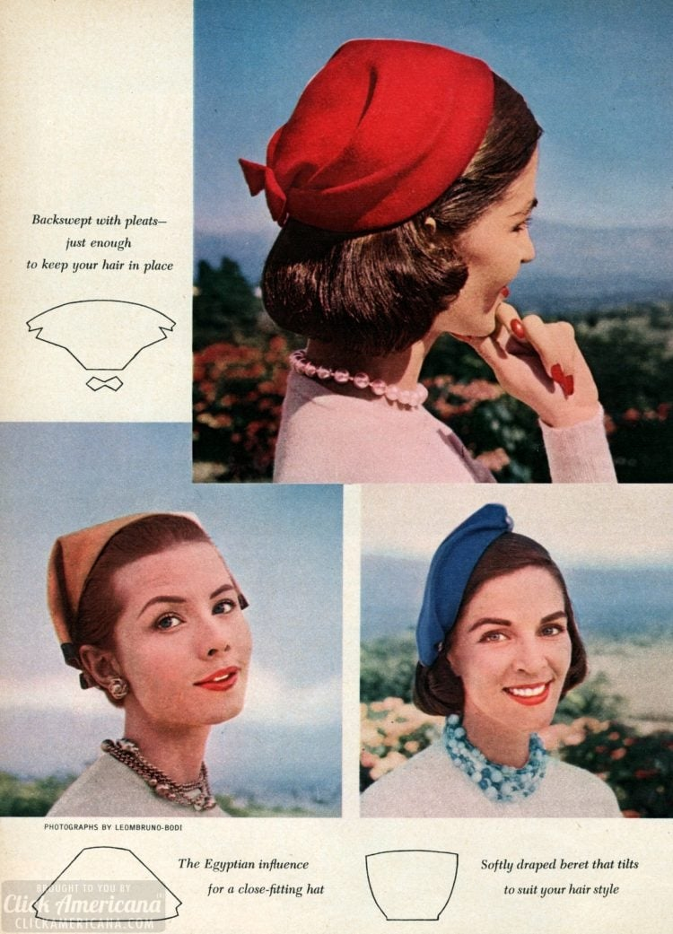 Simple one-piece hats you can make Sew some style! (1955)
