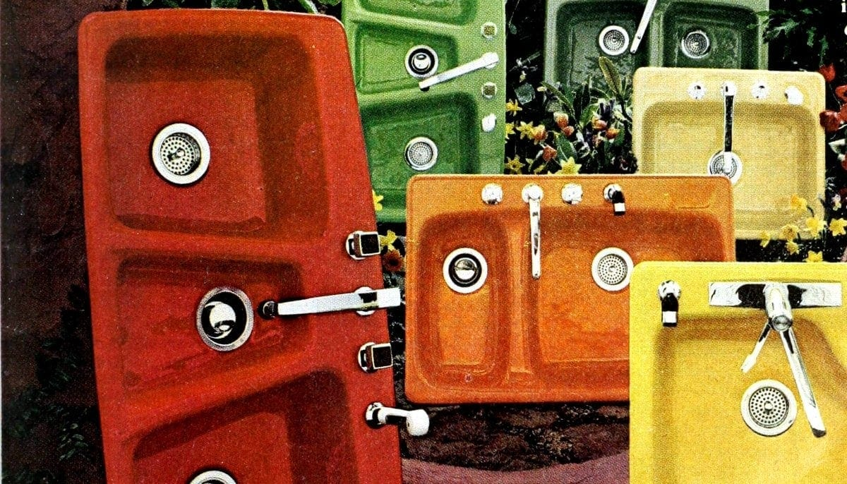 see colorful vintage kitchen sinks of