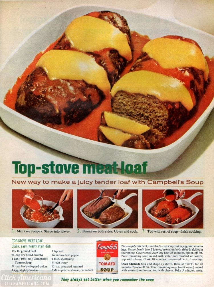 Stove top meatloaf recipe (1965)