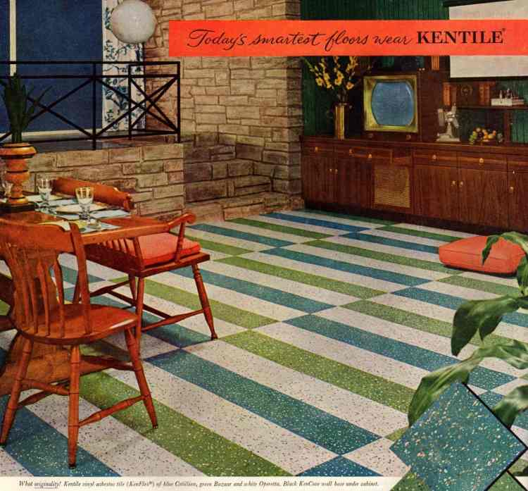 Green and blue striped family room floors from 1957